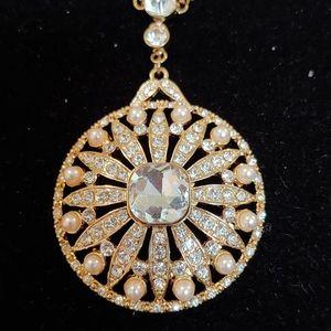 Rhinestone & Pearl Double Strand Necklace